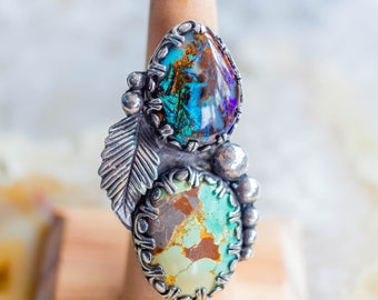 SOLD Boho Silver Ring, Boulder Opal Ring, Turquoise Ring, Bellydance Shield Ring, Tribal Fusion Ring, Statement Ring,  Feather Ring