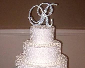 "Bling Wedding Cake Topper - Crystal Sparkle Rhinestone Monogram Initial - 6"" Tall | A B C D E F G H I J K L M N O P Q R S T U V W X Y Z"