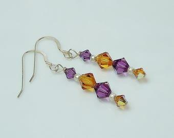 Swarovski Crystal Amethyst and Topaz Beaded Earrings