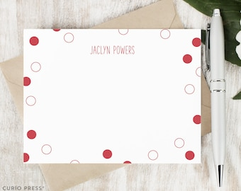 Personalized Stationery Set / Personalized Stationary Note Cards / Boxed Notecard Set / Polka Dot Notes / Monogram Cards // ON THE DOT
