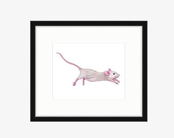 Mouse Nursery Art Mouse Art Print Watercolor mouse painting Whimsical nursery art Cute running happy playful mouse illustration pink gray