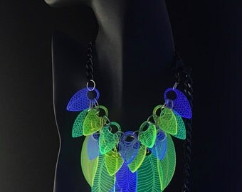 Fluorescent Glowing Necklace - Feathers Scales - UV Blue Green Yellow