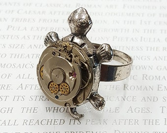 Steampunk Turtle Ring- -Watch Part Rings- Vintage Turtle Jewelry Gift for Steampunk Loving Friend