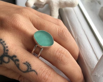 Sea Glass Ring Sz10 Aqua Mermaid Tears Double Band Sterling Silver