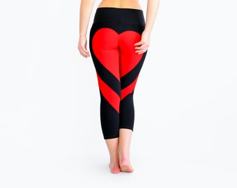 Red Heart Leggings, Heart Shape Pants, Sexy Leggings, Workout Pants, Black Leggings, Black Yoga Pants, Love Leggings, Designer Yoga Pants