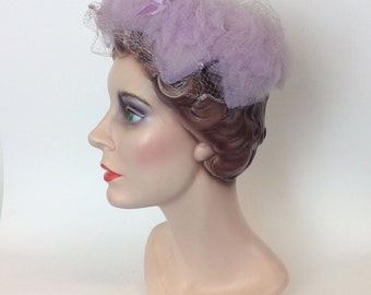 50s Lavender Hat / 1950s Vintage Crown with Netted Veil