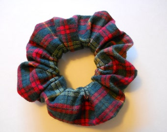 Flannel Plaid Scrunchie /  Red and Green Plaid Hair Accessory / Around
