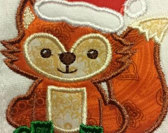 Merry little Christmas fox bib, burp cloth, body suit or toddler t shirt.