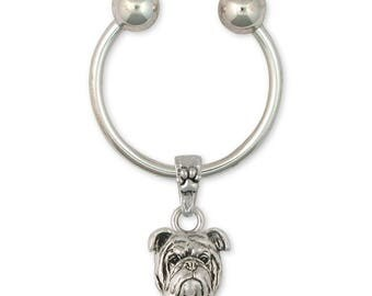 Bulldog Key Ring Jewelry Sterling Silver Handmade Dog Key Ring BD18-KR