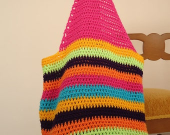 Crochet tote bag , crochet shopping bag , crochet rainbow tote , crochet beach bag , rainbow bag ,