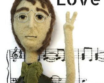 John Lennon art doll OOAK, your favorite character needle felted art doll customize your mini-me, selfie puppet, personality wool sculpture.
