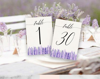 4x6 printable wedding table numbers - rustic - lavender - french country- purple - calligraphy - watercolor - swashes - digital printable