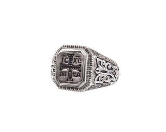 signet ring, Sterling silver, signet bronze black platinum, Byzantine ring, men ring ,cross ring