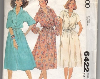 6422 McCalls Sewing Pattern Kimono Sleeve Pullover Dress Choice Sleeves 34B Size 12 Vintage 1970s