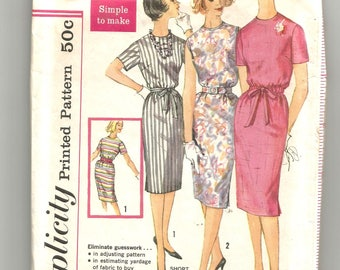 3780 Simplicity Sewing Pattern Slim Skirt Dress Size 16 36B Vintage 1960s