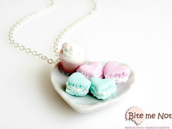Food Jewelry Pal Tone Heart Macarons Necklace - Mint Heart and Strawberry Macarons stuffed with Vanilla Cream - Silver Plated Long Chain