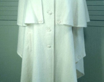 Full Length Cape With Capelet Winter White Vintage 1960 Mid Century Brushed Wool Day Evening Wear Coat Jacket Womens Size Medium Large XL