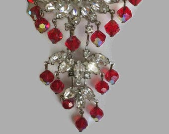 RARE Vendome AB Red Beads & Diamante Rhinestones Long Dangling Fringe Brooch Pin