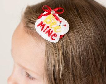 Bee Mine Hair Clip, Valentines Day Hair Clip, Bee Hair Clip, Bee Felt Hair Clip, Bee Felt Clip, Hair Clips for Girls, Girls Hair Clips, Bee