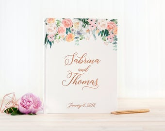 Wedding Guest Book Rose Gold Foil wedding guestbook floral rose gold foil custom guest book album personalized instant photo booth book