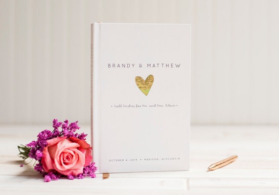 Gold Foil Wedding Guest Book custom guestbook heart love instant photo book album personalized wedding sign in hardcover scrapbook signature