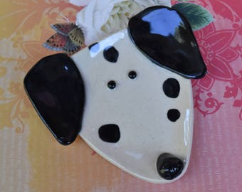 Dalmatian plate. Dog spoon rest. Ceramic dog jewelry holder. Dog plate. Labrador dog dish. Dog ring holder. Yellow Handmade small dog plate.