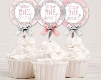 Winter Onederland Pink Silver Snowflake | Cupcake Toppers Circles | Digital Instant Download