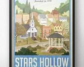 Stars Hollow affiche - voyage Vintage - inspiré par Gilmore Girls (Version bleue)