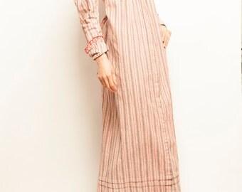 1900's victorian stripes motif romantic collerette night shirt