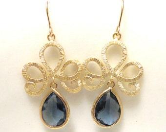 Navy Blue Earrings Gold Earrings Sapphire Blue Wedding Jewelry Navy Bridesmaid Earrings Something Blue Bridal Jewelry Gold Dangle Earrings