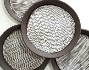 Brown and white ceramic striped plate, dinner plate