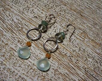 Green CHALCEDONY, HOOP long chandelier earrings, green amethyst, green & red aventurine/STERLING Silver hoops/faceted briolettes/Boho/Pastel