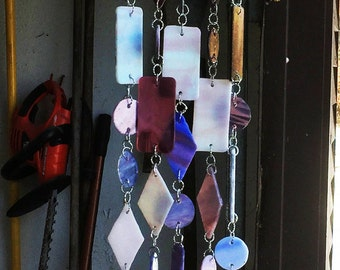 WIND CHIME - Stained Glass Light Purple Flower Windchime