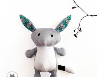 Bilby, softie, soft toy, Australian marsupial, easter, themed bedroom, plush stuffed, CE certified, wildlife, children's birth unisex gift