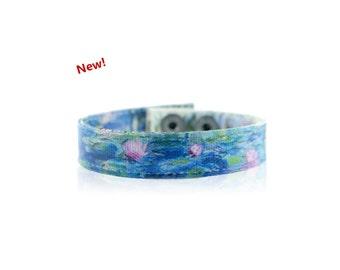 Claude Monet 'Water Lilies' Handmade Canvas Art Bracelet, Monet Jewelry, Art Jewelry, Women's Bracelet, Gift for Her, Art Teacher Gift