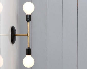 Double Brass Wall Sconce Light - Bare Bulb Lamp