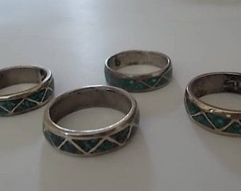 Old Vintage Native American Southwestern Turquoise Band Rings SterlingHippie wedding band   Etsy. Hippie Wedding Rings. Home Design Ideas