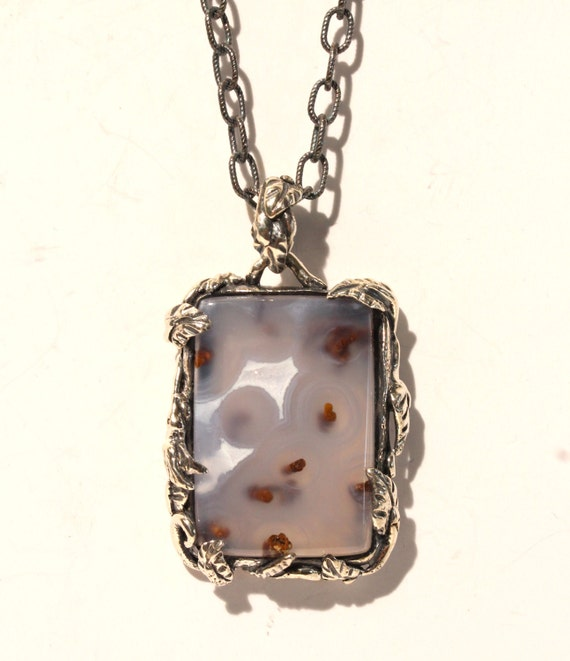 Natural Chalcedony Pendant-  Sterling Silver -  Handmade - Custom Gemstone Jewelry #1468 Watch Video!