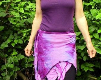 Pink pixie wrap skirt, Elven skirt, Tribal Fairy tie dye miniskirt,Festival Goa Psytrance gypsy