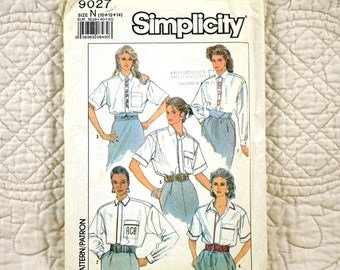 Shirt, S M, Simplicity 9027 Pattern, Long or Short Sleeves, Back Pleats, Collar, Front Band, Concealed Buttons, 1989 Uncut, Size 10 12 14