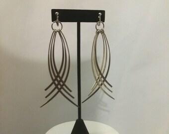 Shop closing Vintage dangle earrings 80s long silver clipons long abstract clipons