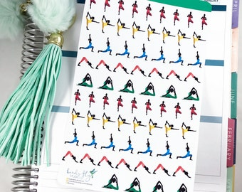 Yoga Planner Stickers   Yoga Poses Stickers / Exercise Stickers  for Erin Condren / Yoga Poses, Yoga Class, Yoga, Exercise Stickers
