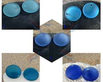 More Colors~2pcs (25mm) Blue Concave Coin ~Jewelry Making Supply~ Sea Glass Beads~Cultured Sea Glass Beach Glass Pendant Beads