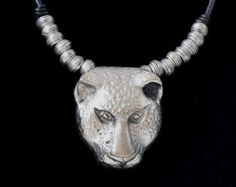 Large Panther Pendant, Antique Silver Zamak, 4mm round leather pendant charm