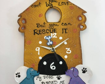 Dog rescue clock,Rescue dog clock, ,Baby Nursery Decor,Animal Clock, Fun Clock for Kids