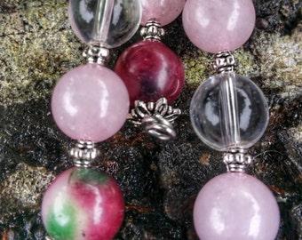 Beautiful necklace necklace genuine rose quartz, tourmaline and rock crystal