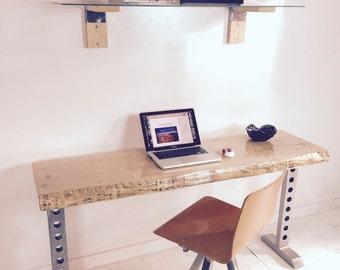 SALE! Maple Live Edge Slab Wood Desk with Steel Legs