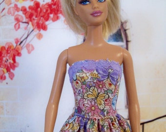 Handmade, Barbie Clothing, Butterfly Dress, Lavender and Blue, Floral Dress, Fashion Doll Clothes, Doll Dress, Barbie Dress, Doll Clothing