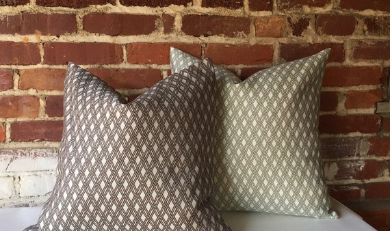 How To Make A Basket Weave Pillow : Basket weave pillow cover in truffle grey or sage green zipper