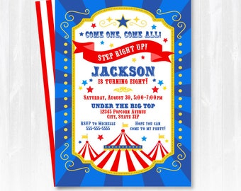 Carnival Invitations - Carnival Party Invitations - Circus Birthday Invitations - Circus Invitation - INSTANT DOWNLOAD - Edit NOW with Adobe